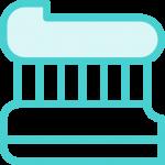 אייקון של משחת שיניים על ראש של מברשת שיניים